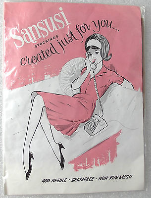 Sheer nylon stockings size 10 Vintage 1950s 1960s SANSUSI seamfree 400 needle